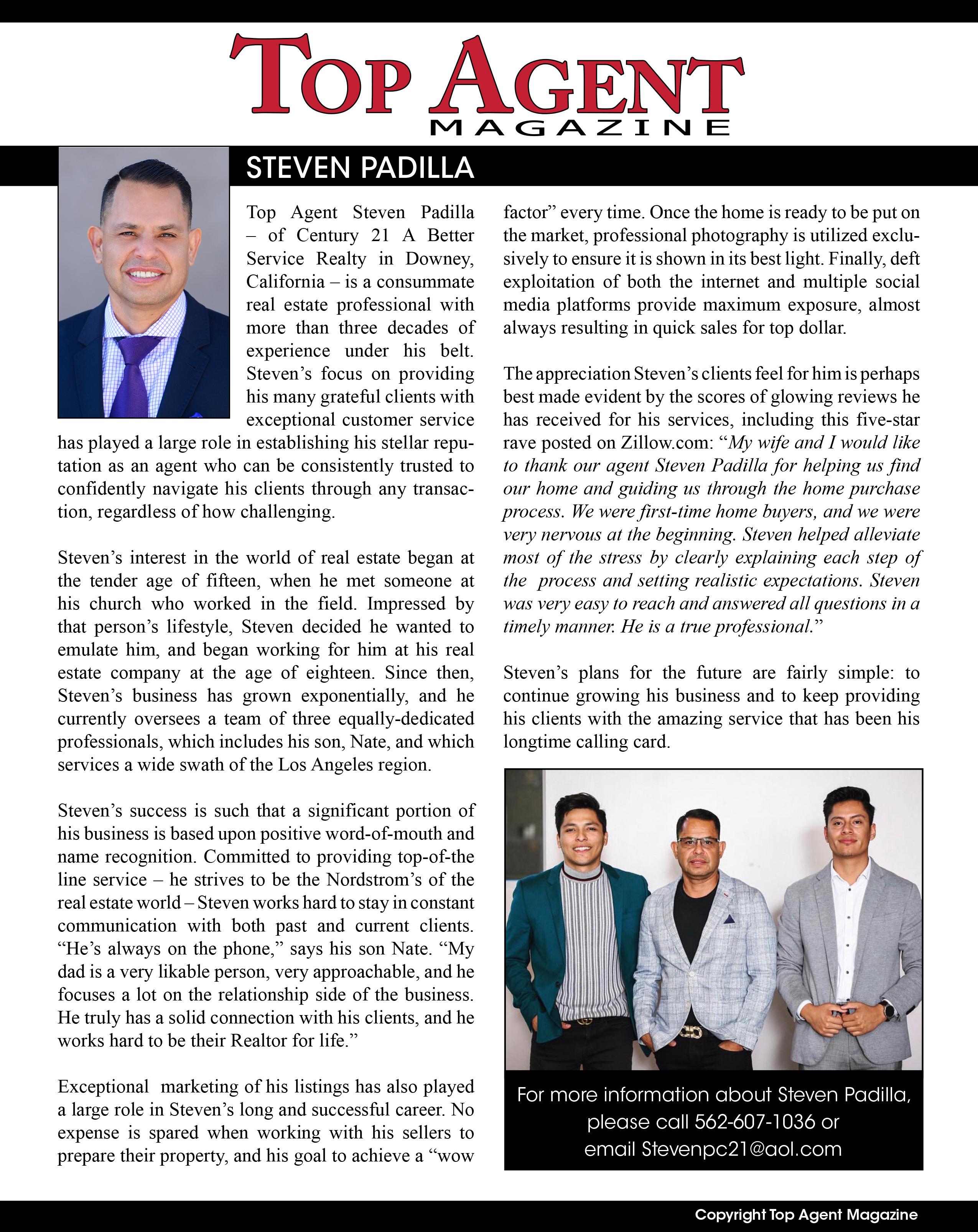 , TOP AGENT MAGAZINE | STEVEN PADILLA
